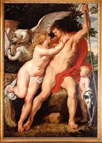 Venus und Adonis von Rubens - in einer schmalen Goldleiste eingefasst
